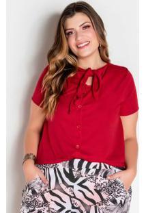Blusa Vermelha Com Botões E Amarração Plus Size