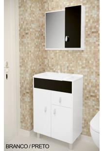 Gabinete Para Banheiro Kit Tuon - Balcão + Espelheira + Marmorite - Branco Com Preto