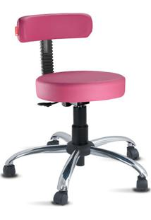 Cadeira Mocho Slim Rosa Cromado