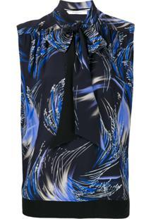 Givenchy Blusa Estampada Com Laço - Preto