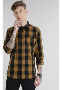 Camisa Masculina Xadrez Com Bolso Manga Longa Caramelo