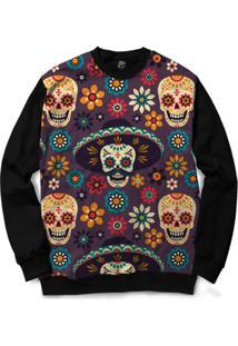 Blusa Bsc Mexican Hat Skull Full Print - Masculino