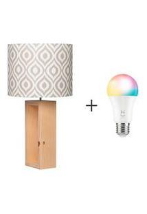 Abajur Nook Cilindrico Bege - Carambola + Lampada Led Inteligente Rgb Soquete E27 - Hi Geonav