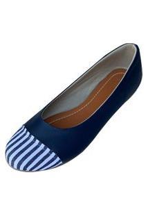 Sapatilha Likka Calçados Azul Marinho/Listrado