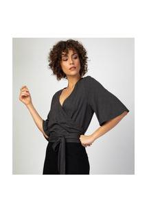 Blusa Liz Easywear Transpassada Cinza