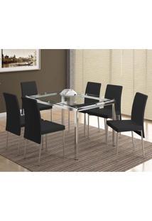 Conjunto Mesa 346 Com Vidro Incolor Cromada Com 6 Cadeiras 306 Cromada/Preta Carraro