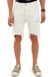 Bermuda John John Clássica Bodrum 3D Sarja Branco Masculina (Off White, 48)