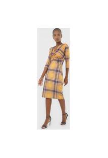 Vestido Lança Perfume Midi Xadrez Amarelo