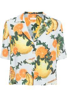Camisa Feminina Manga Curta Banana - Azul