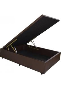 Cama Box Baú Reforçado Viúva 1,28 X 1,88 X 0,40 Corino Marrom