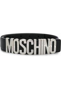 Moschino Cinto Com Placa De Logo - Preto