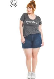 T-Shirt Girl Boss Naif Plus Size Cinza