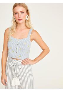 Blusa Cropped Listrada Com Bordados - Azul & Brancashoulder