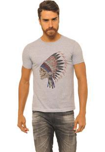 Camiseta Masculina Joss Premium New Indian Skull Mescla Cinza