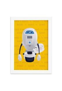 Quadro Infantil Robô Amarelo Moldura Branca 22X32Cm
