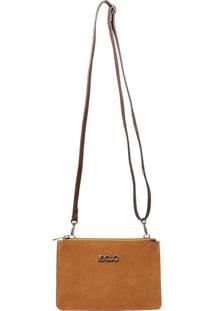 Bolsa Transversal Camurça Caramelo Em Couro Recuo Fashion Bag