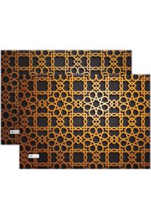 Kit 2Pçs Jogo Americano Mdecor Abstrato 40X28Cm Marrom