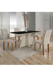 Conjunto De Mesa De Jantar Creta Ii Com 4 Cadeiras Olímpia Suede Preto E Bege
