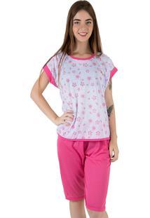Pijama Linha Noite Pescador Estampado Pink