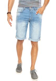 Bermuda Jeans Triton Slim Barra Dobrada Azul