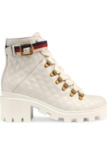 Gucci Ankle Boot De Couro Matelassê - Branco