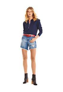 Bermuda Comfort Barra Desfiada Jeans