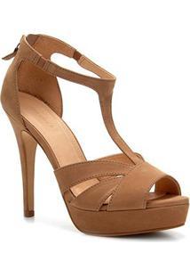 Sandália Couro Shoestock Meia Pata Feminina - Feminino-Nude