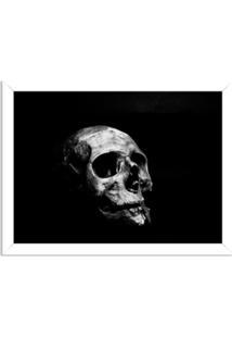 Quadro Decorativo Dark Skull Branco - Médio