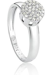 Anel De Ouro Branco 18K Pavê Redondo Com Diamantes-Coleção Engaged.