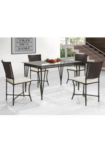 Conjunto De Mesa De Jantar Com 4 Cadeiras Lena Marrom Escuro