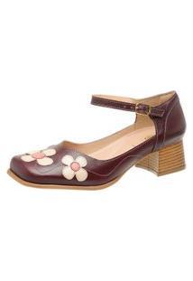 Sapato Bico Quadrado Ref: 3166 Chilli / Perola / Goiaba
