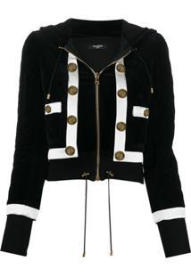 Balmain Cropped Quilted Velvet Jacket - Preto