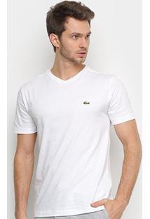 Camiseta Lacoste Básica Lisa Masculina - Masculino-Branco