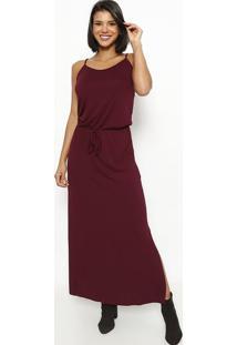 Vestido Longo Com Elástico E Amarração- Bordô- Vittrvittri