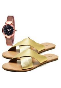 Sandália Urbano Com Relógio Gold Feminina Dubuy 2028Db Ouro