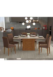 Conjunto De Mesa De Jantar Rafaela Com 6 Cadeiras Vanessa Suede Off White E Chocolate