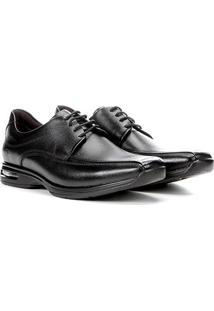 Sapato Social Couro Air Democrata Casual Masculino - Masculino-Preto