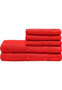 Jogo De Banho Premium Vermelho Real 285 G/M² 100% Algodão 05 Peças