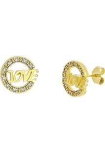 Brinco Love Com Micro Zircônias 3Rs Semijoias Dourado