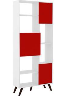Estante Retrã´- Branca & Vermelha- 184,5X79,5X32Cm