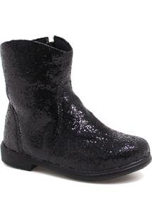 Bota Ankle Boot Zariff Shoes Glitter Preto