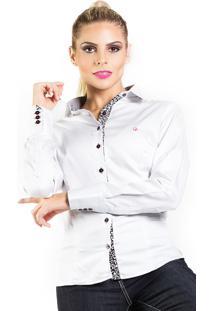Camisa Carlos Brusman Slim Reta Micro Poá Branco