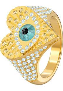 Anel Lucky Goddess Heart Motif, Multicolor, Banho De Ouro