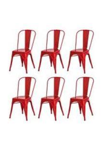 Kit 6 Cadeiras Tolix Iron Design Vermelha Aco Industrial Sala Cozinha Jantar Bar