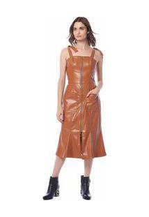 Vestido Midi Decote Quadrado Ziper Frontal Laranja M