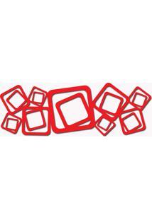 Escultura De Parede Abstrato Quadrados Vazado Vermelho 100X45 Cm