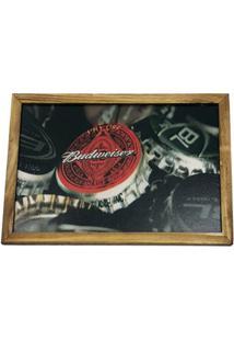 Quadro Madeira Mdf 20X30 C/ Moldura E Acab. Cerveja Tampa - Marrom - Dafiti