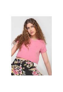 Camiseta Cropped Volcom Solid Stone Rosa