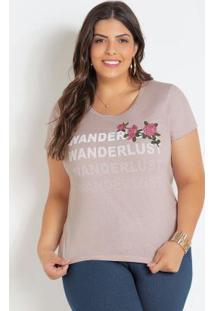 T-Shirt Plus Size Rosê Com Bordado Floral