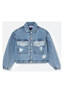 Jaqueta Cropped Jeans Com Estampa Garfield Nas Costas | Garfield | Azul Escuro | G